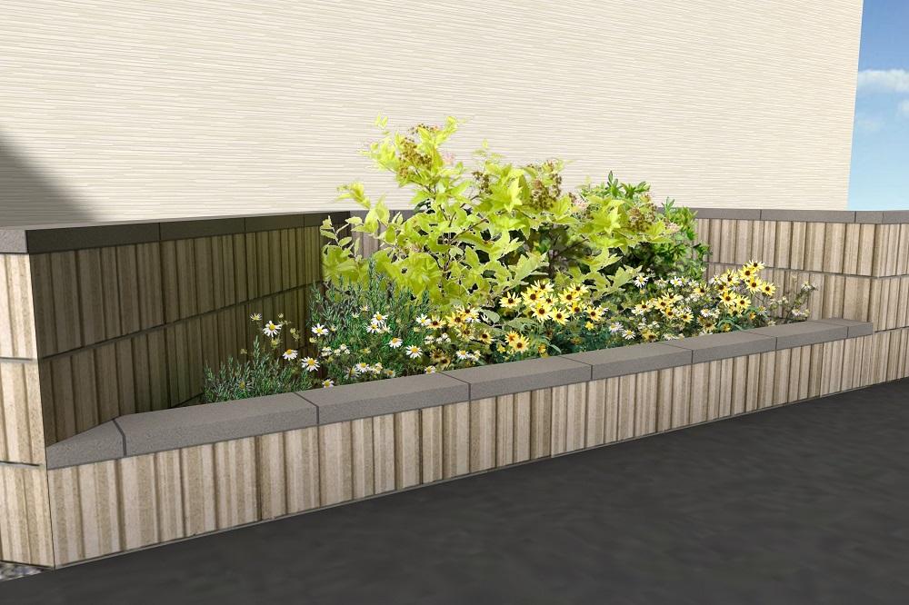 花壇スペースのある塀